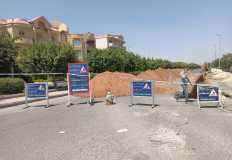 غلق اتجاه بالطريق الفاصل بين الحيين الأول والتاسع بمدينة الشروق لأعمال المرافق